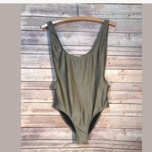 Misguided Pewter Plunge NWT One Piece Swimsuit